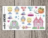 19 Princess Cinderella Stickers / Erin Condren Planner Stickers / Stickers
