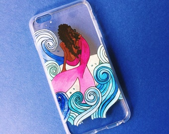 Mermaid iPhone case   Clear iphone case   Custom iPhone case   Gift for Her   Stocking Stuffer   Gift idea   Mermaid Art   Watercolor case