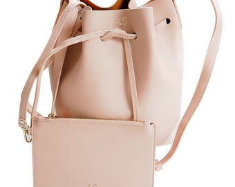 PERSONALISED MONOGRAMMED Genuine Leather Women's Bucket Bag Handbag Taupe Beige