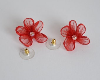 Red Ribbon Poppy Stud Earrings