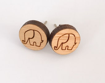 Earrings studs wood circles with elephant design bamboo plywood, hypoallergenic surgical steel posts