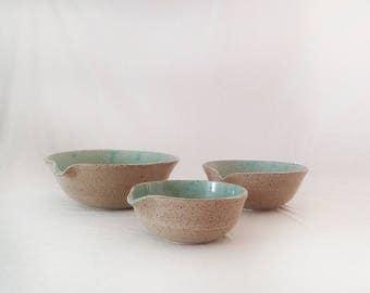 Pottery bowls set, Ceramic bowls, Serving ceramic dishware set, Handmade ceramic dinnerware, Mint pottery bowls, Handmade pottery bowl