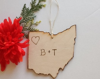 State of Ohio Christmas ornament-personalized state ornament-custom state holiday ornament - Ohio state  decor- engraved ornament