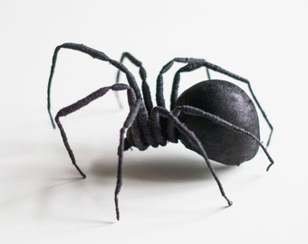 Black Spinne, textil art, insect, Soft sculptur,home decor, unique design, eco friedly,fabric spider