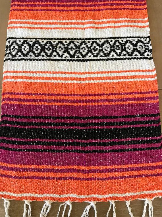 Mexican Table Runner, Orange And Raspberry Falsa Blanket, Boho Chic Decor,  Rustic Wedding, Tribal Party, Beach Blanket Or Yoga Mat