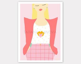 Blonde in Pink Art Print