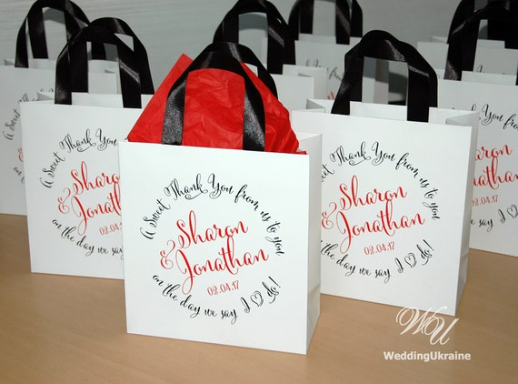 Gift For Wedding Guests Thank You: 40 Thank You Gift Bags For Guests With Black By WeddingUkraine
