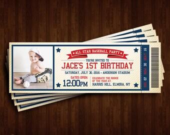 Baseball Theme, 1st Birthday Invitation, Ticket