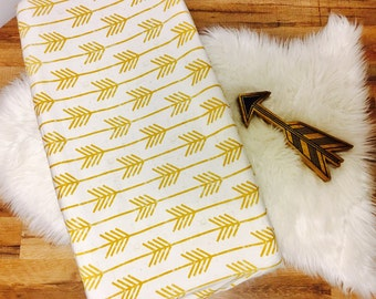 Custom Baby Bedding//Arrows//Gold//Modern// Changing Pad Cover