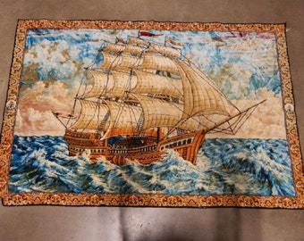 Large Tapestry Of Tall Mast Sailing Ship