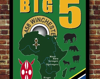 Big Five Safari Decoration Vintage Poster