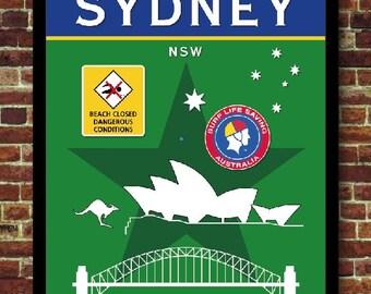Sydney Australia Surf Print Poster Decoration Vintage