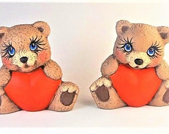 Teddy Bear, Ceramic Teddy Bear, Heart Belly Teddy Bear, Valentines Day Decor, Bear