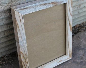 8x10 Handcrafted reclaimed wood picture frame with glass