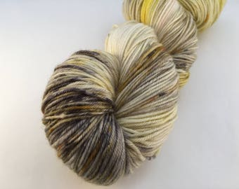 Hand dyed yarn Victoria sock -'Speckled Black pepper mustard'
