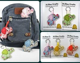 Cute Baby Elephant  hand sewn Felt and Fabric Key Ring, Bag Charm, Brooch or Magnet