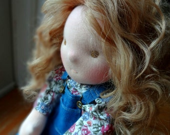 "SALE Waldorf doll, 16"", light brown hair, brown eyes, all natural, handmade, mohair weft"