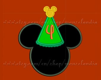 cute mouse Happy  birthday (number four).  Applique Design.  2 sizes 4X4 and 5X7. Instant Download