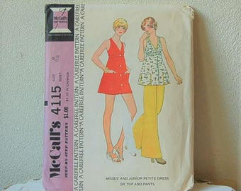 McCall's 4115 Seventies sleeveless top, mini skirt Bell Bottoms Size Junior 9 UNCUT