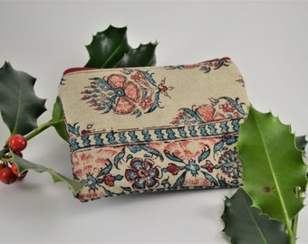 Teal and Red Zippered Coin Purse
