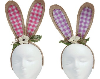 Plaid Burlap Bunny Ears Headband - Set of 2/Wreath Supplies/Easter Decor/9729877