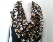 Tube Scarf, infinity scarf double towers, camouflage effect of mustard yellow, white, grey and black.