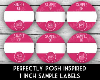 """PERFECTLY POSH Inspired 1"""" SAMPLE Labels - Pink, Direct Sales Labels, Business Labels, Business Stationery, Professional Printing"""