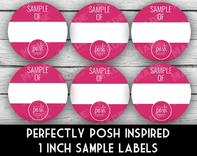 "PERFECTLY POSH Inspired 1"" SAMPLE Labels - Pink, Direct Sales Labels, Business Labels, Business Stationery, Professional Printing"