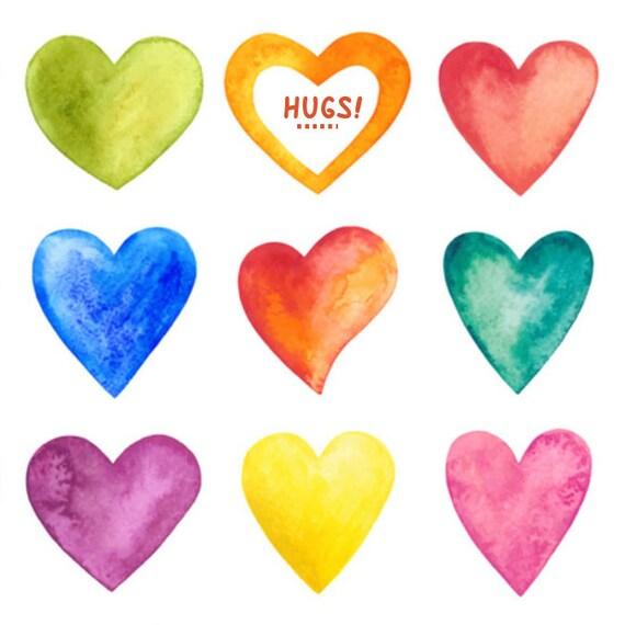 Heart Stickers Happy Hugs Purple Orange Blue Pink