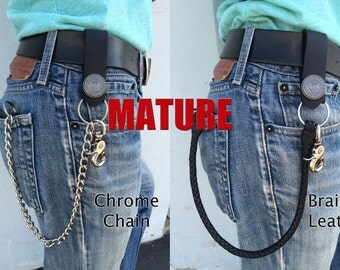 "Mature, Bad Mother F*cker Window & Zipper Wallet, 18"" Chrome or Leather Chains, Key FOB, Genuine Leather, Trucker Wallet, Biker Wallet"