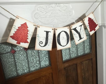 Christmas Banner, Joy Banner, Christmas Sign, Mantle Decoration, Christmas Photo Prop, Rustic Banner