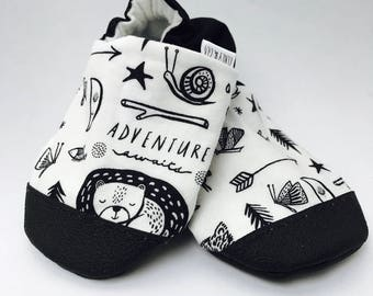 Adventure Baby Shoes, Happy Camper Baby Shoes, Monochrome Baby Slippers, Soft Sole Baby Shoes, Gender Neutral, Baby Moccasins, Baby Booties