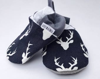 Blue Deer Baby Shoes, Baby  Boy Shoes, Soft Sole Baby Shoes, Baby Slippers, Baby Booties, Baby Moccasins, Crib Shoes, Toddler Slippers