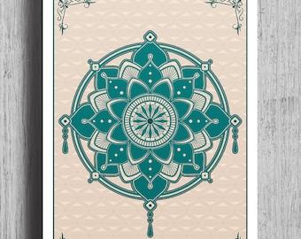 MANDALA Poster Print | Mandala Geometric Print | Wall Art | Mandala Illustration | Mandala poster | A4 | A1
