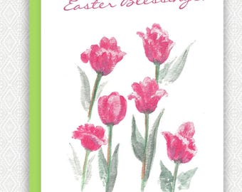 """Easter Card """"Pink Tulips"""""""