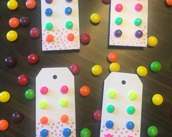 Candy Button Earrings set of 4!