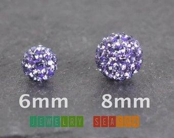 925 Sterling Silver Purple Amethyst Cubic Zirconia Disco Ball Screwback Earrings Womens Childrens Fire Ball Post Safety Locking Backs