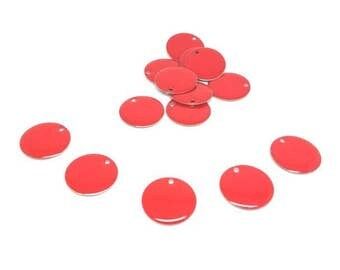 20 Emailles 20mm dark red color Sequins charms