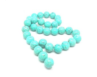 32 round Turquoise beads natural 12mm