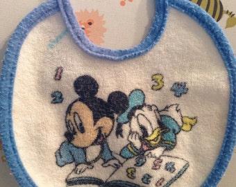 Vintage Baby Bib- Disney- Mickey and Donald