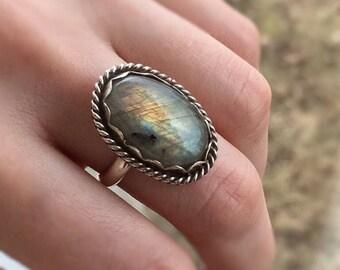 Sterling Silver Labradorite Ring, labradorite ring, rainbow labradorite ring, one of a kind, size 6.25