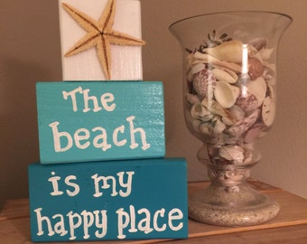 Wood beach block sign The beach is my happy place Beach decor Wooden beach signs