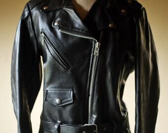 Womens Medium Black Leather Biker Jacket Motorcycle Silver YKK Zipper Lined Broken In / Leather Biker Jacket Womens 14 Gino Leathers