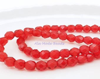 6MM Ruby Red Czech Fire Polished Rounds (30) Faceted Ruby Czech Beads