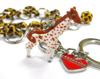 Hand Painted Metal Giraffe KeyChain and Plastic Bracelet Set