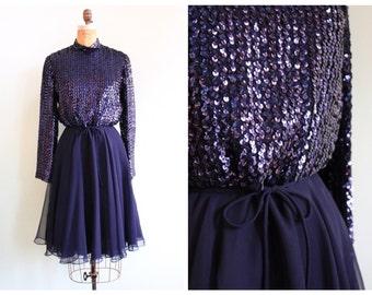 Vintage 1970's Midnight Blue Sequin Party Dress | Size Medium
