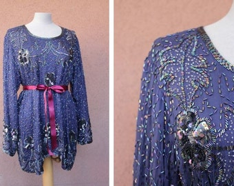 Vintage Beaded Navy Blue Silk Blouse - Embroidered Silk Blouse / Dress
