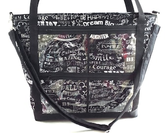 Consultant Display Tote bag. .direct sales reps clear window pocket catalogue display bag. advertise your business bag. .crossbody bag