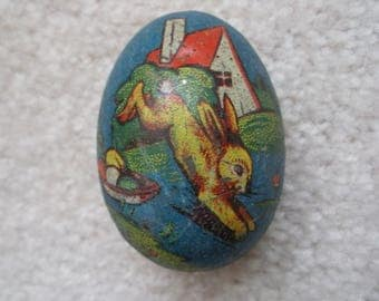 Vintage Metal Tin EASTER EGG Candy Container Germany Litho Antique Jumping Rabbit Bunny