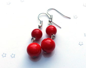 Red coral earrings - red earrings - gift for her - sterling silver earrings - valentine gift